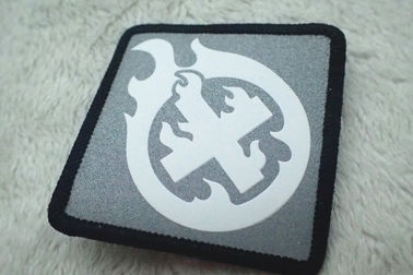 Custom Silver Reflective Screen Printing Label , Soft TPU Patch For Garment